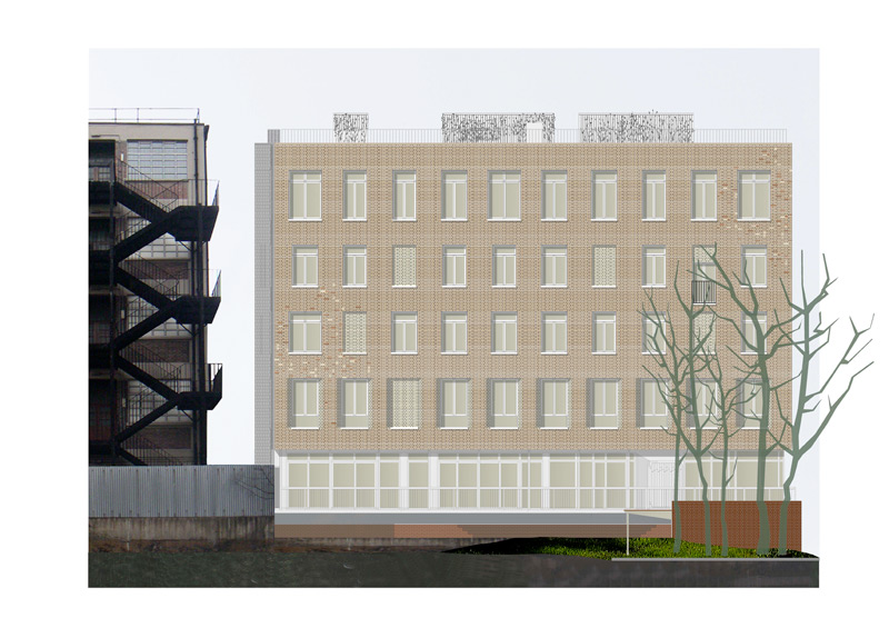 muf were appointed as the architects to design a 5 storey mixed use development for a private client in Hackney. The site on Whitmore Road is on the south side of Regents Canal, opposite the towpath. It is within the Kingsland Basin Designated Employment Area and Regent's Canal Conservation Area. The commercial space will be occupied by Shoreditch Trust and is located on the ground and first floor; the 8 residential units are located on the first – fourth floor.
