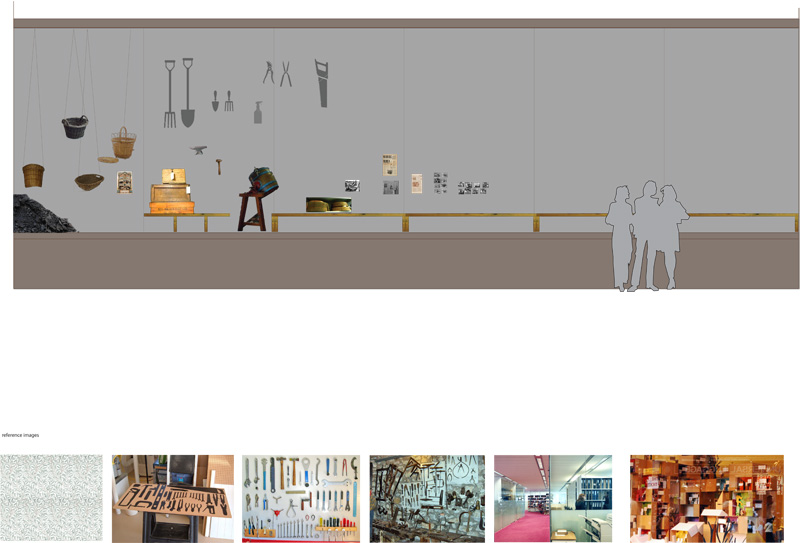 The design includes a bespoke exhibition and display cabinet made from collaging second hand furniture historically used in women's work.