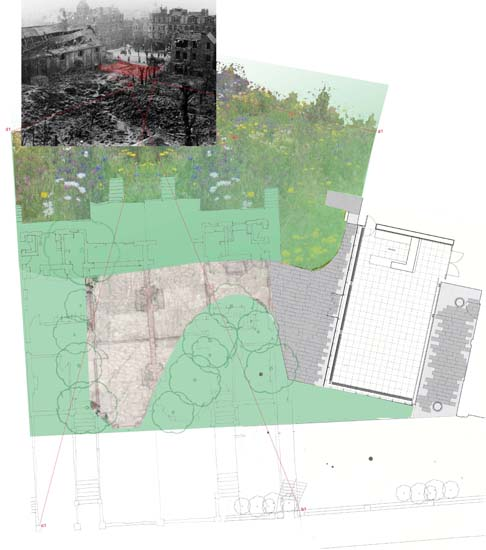 The design was based on research that revealed the garden originated as a gap site created by a WWII bomb, and was later incorporated as part of the Arts Centre site.  The design traces the footprint of the houses that stood on the site and also makes space for the self-seeded 60+ year-old trees that grew up through the ruins.