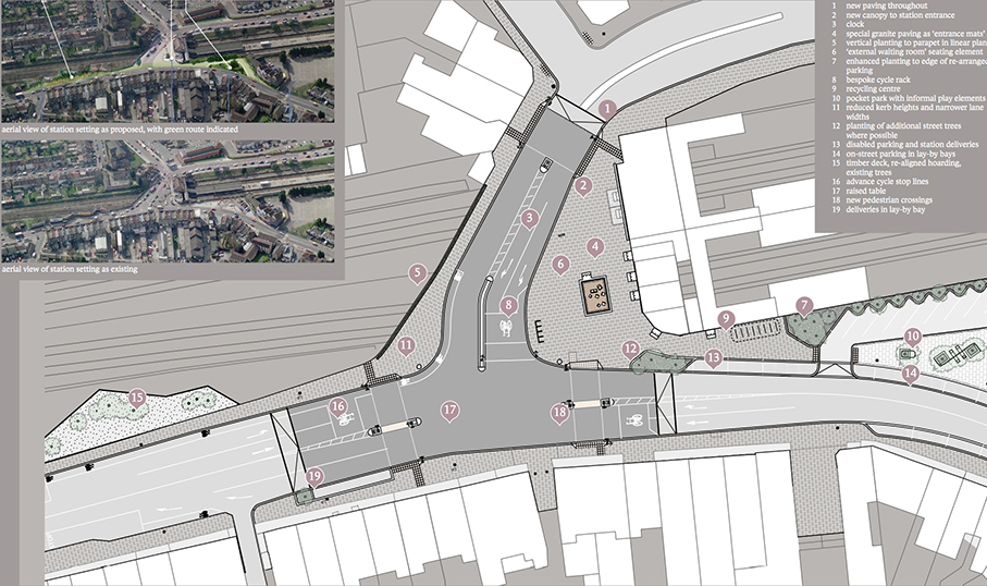 The station forecourt is an important north-south crossing over the railway. As such the creation of attractive and safe pedestrian and cycle routes are of wider importance beyond the immediate station surrounds. The proposed design rationalises the road layout.